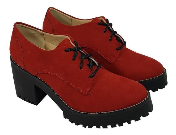 Bota Botinha Inverno / Sapato Retrô Salto Médio Cor Vermelho