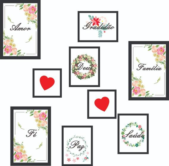 9 Placas Decorativas Tamanhos Diferentes Quadros Amor Paz Fé