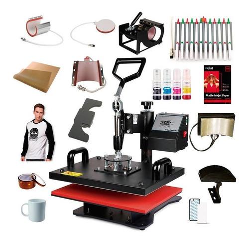 Combo 10en1 De Maquina Para Sublimar 38x38 Textil Lapiceras