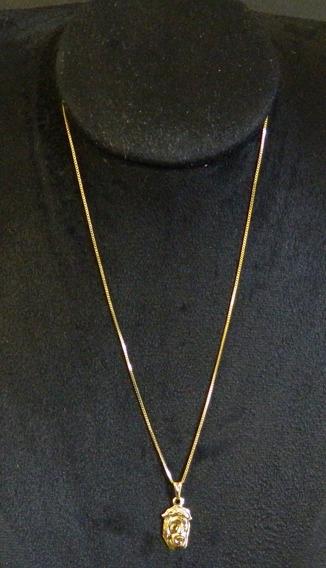 Corrente Masculina 60cm + Pingente Cristo Folheado Ouro 18k