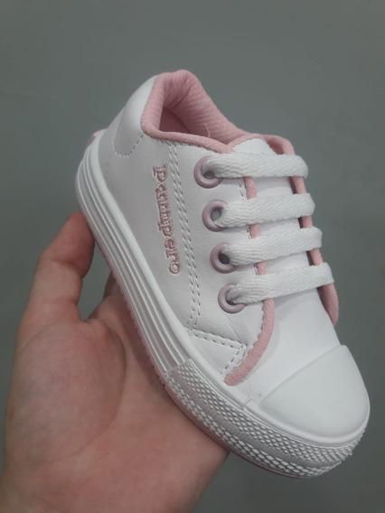 Zapatillas De Cuerina Colegiales Con Cordón, Pampero Blancas
