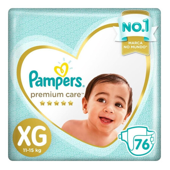 Fralda Pampers Premium Care Top Tamanho Xg 76 Unidades