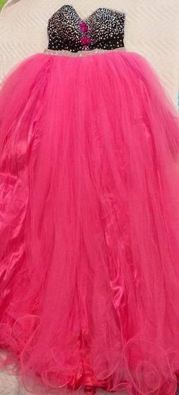 Vestido 15 Anos Rosa Pink Com Preto.