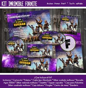 Kit Fortnite Invitación Etiquetas Cumpleaños V-bucks Fiesta