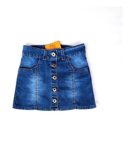 Pollera Jeans Azul Tiki  Niña Infantil Talles Del 2 Al 12