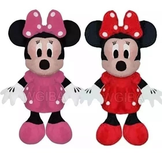 Kit C/ 02 Bonecos De Pelúcia Minnie Vermelha E Rosa 28 Cm