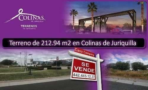 Se Vende Terreno En Colinas De Juriquilla, 212 M2 -ganalo !!