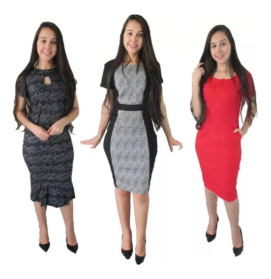 3 Vestidos Femininos Bengaline Moda Evangelica Tamanho G 42 - 44