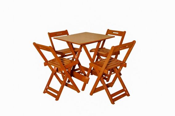 Conjunto Dobrável 70x70 Com 4 Cadeiras