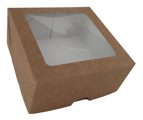 Imagem 1 de 8 de Caixa Kraft Com Visor Para Presente 10x10x4,5 - 20un