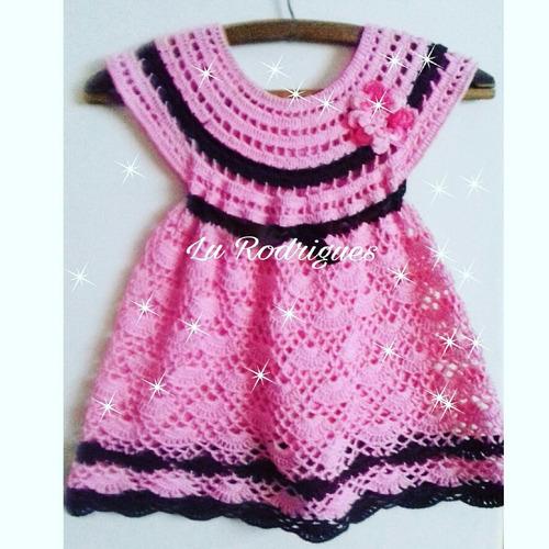 Imagem 1 de 2 de Vestido Para Bebes De Croche