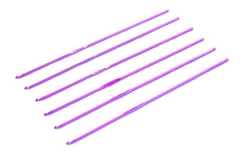 Imagen 1 de 1 de Set Agujas Crochet Aluminio Color Nº2 Por 6 Unidades