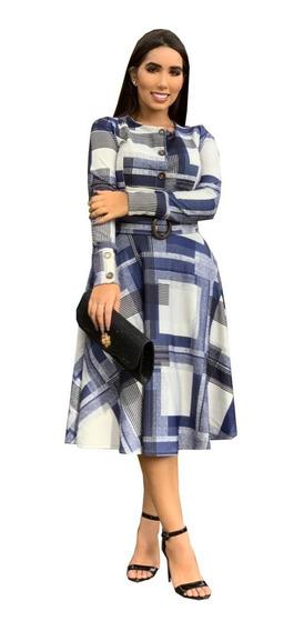 Vestido Feminino Rodado Midi Com Cinto Moda Evangélica
