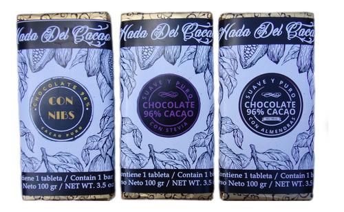 Chocolate 100 Gr 96% Cacao Almendras Con Stevia - Sin Azucar