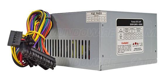 Fonte Atx 200w P/ Computador Com Hardware Básico + Cabo Atx