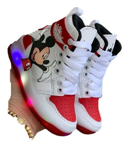 Zapatos Botas Deportivos Niño Con Luces Corte Alto Mickey