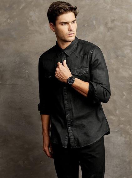 Camisa Guess Ls Slim Western Shirt Mebk Negro
