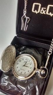Reloj De Bolsillo Estilo Retro Antiguo Q&q Con Tapa Y Cadena