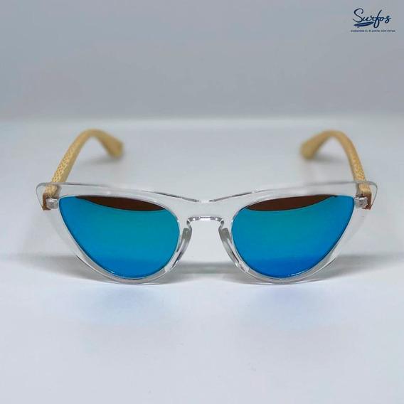 Lentes De Sol Surfos Bambú Originales Polarizado Azul Unisex