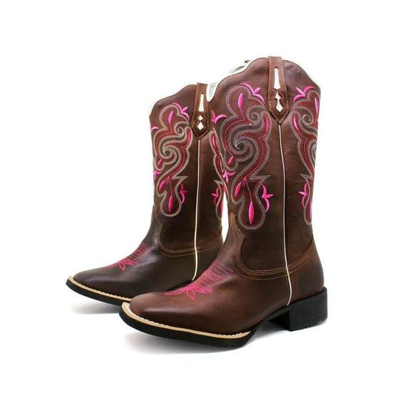 Bota Texana Feminina Bordada Rosa Marconi Mais Barata