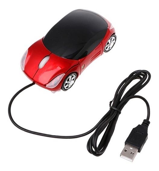 Mouse Óptico Em Formato De Carrinho Vermelho 1600dpi Com Fio