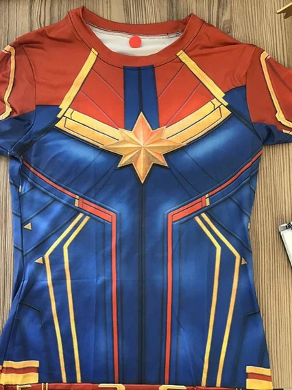 Camisa Capitana Marvel Manga Corta Mediana Lycra