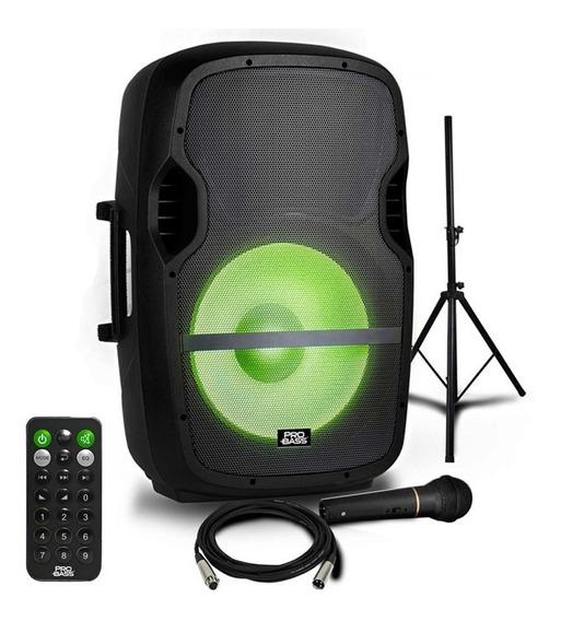 Kit Caixa De Som Ativa Com Tripé Led Microfone 15 Pol 800w