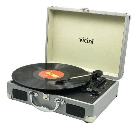 Toca Disco Vitrola Bluetooth Usb Grava Vinil - Vicini Bivolt