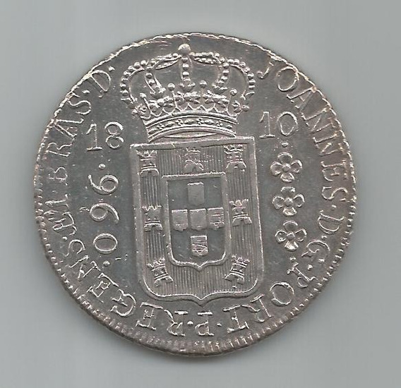 Moeda Prata Brasil - 960 Réis (patacão) - 1810 R - Original