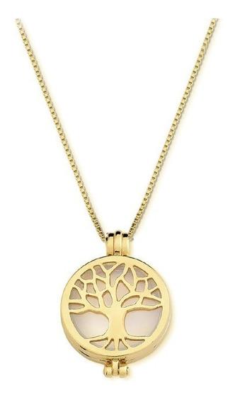 Colar Cápsula De Pedra Natural Árvore Da Vida Folh. Ouro 18k