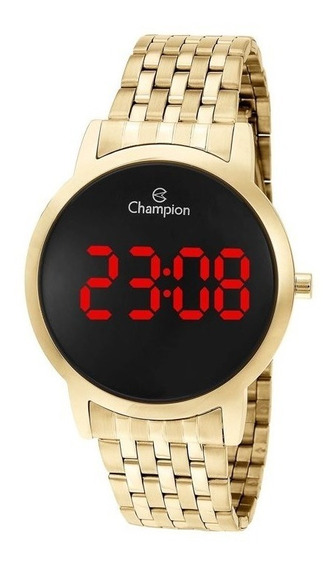Relógio Champion Feminino Dourado Digital Red Led Ch40099h