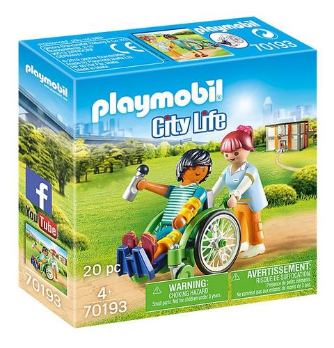 Imagen 1 de 6 de Playmobil Paciente Con Silla De Ruedas 70193 Accesorios Edu