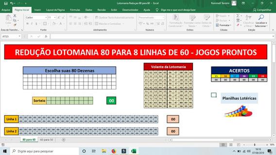 Planilha Da Lotomania - Redução De 80 Para 60 - 8 Linhas
