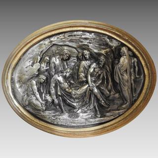Antiguo Cuadro Bronce Capa Plateada Sepultura Cristo Francés