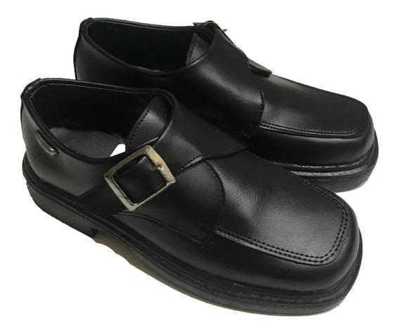 Zapato Escolar Bautismo Vestir Con Hebilla Color Negro A.614