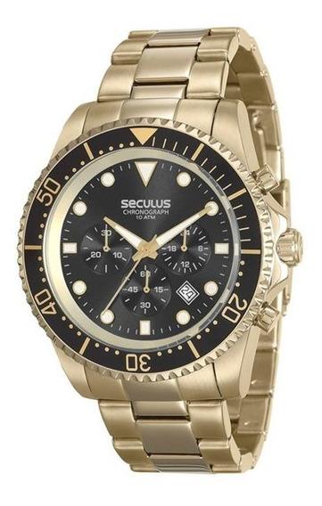 Relógio Seculus Masculino Dourado 13024gpsvda2
