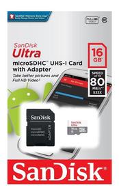 Cartao De Memoria 16 Gb Sandisk Ultra Micro Sd Classe 10 80m