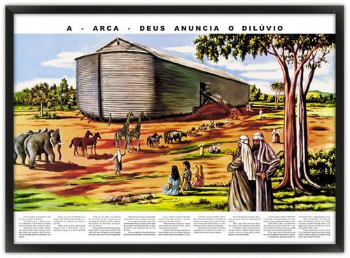 Imagem 1 de 2 de 2 Quadros Biblicos 74x54 Com Moldura - Arca E Travessia