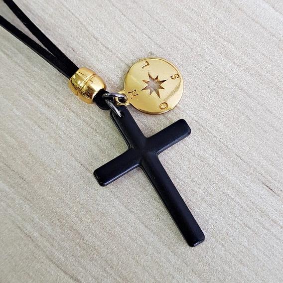 Colar Cordao Masculino Cruz Crucifixo Black Me Guia Senhor