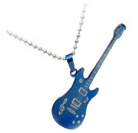 Colar De Guitarra Masculino Azul