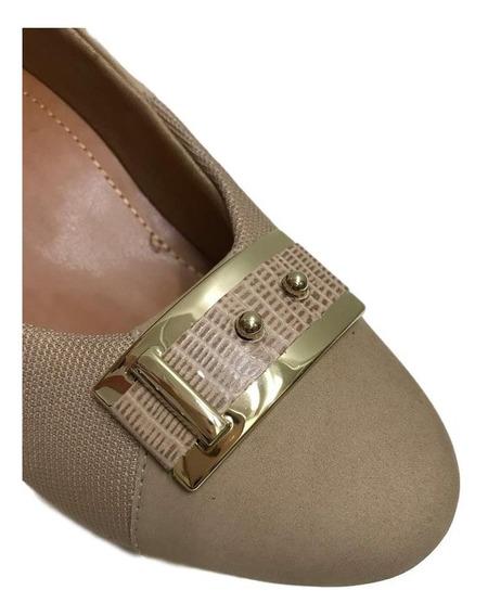 Sapato Usaflex Salto Médio Bege Com Elástico Para Joanete