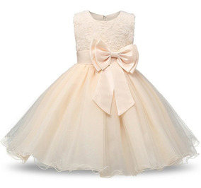 Vestido Infantil Luxo Festa Princesa Casamento Laço - Creme