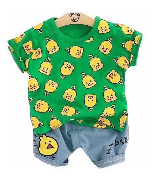 Ropa Casual Bebés Niño Moda Conjunto Short Camisa Pollitos