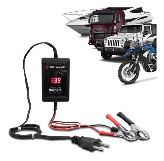 Carregador Bateria Carro Bivolt Com Voltímetro 12v 2ah Shutt