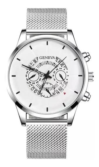 Reloj Hombre Metalico Gasa Elegante Metal Casual Moda