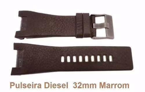Pulseira Diesel 32mm Dz1273 Dz4246 Dz1430 1216 Couro Marrom