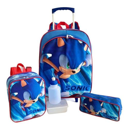 Imagem 1 de 10 de Kit Mochila Infantil Escolar Sonic Rodinhas Tam G F5 Meninos