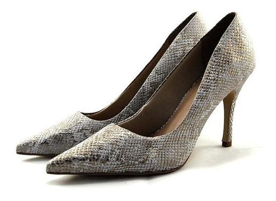 Scarpin Myshoes Prata Dourado Texturizado
