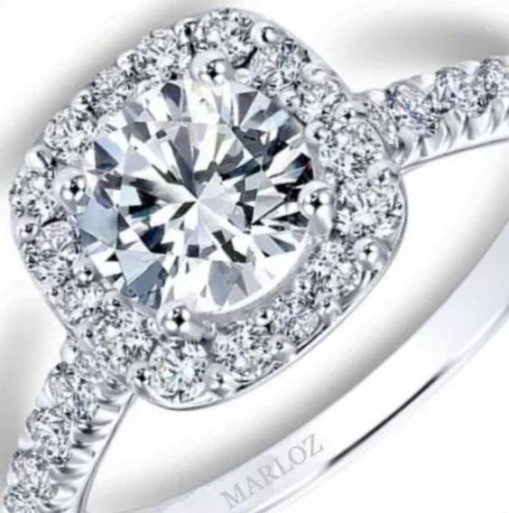 Anillo Compromiso Mod Tiffany Oro Blanco 18k .90ct Brillante