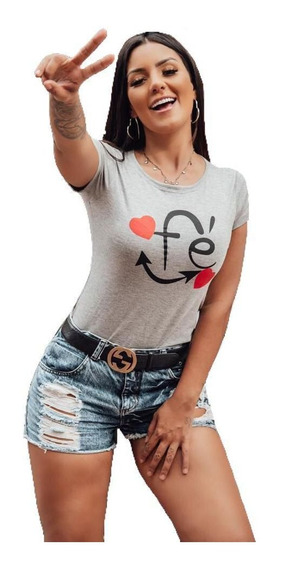 Kit 4 T Shirts Blusa Feminina